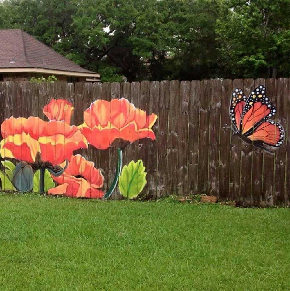 Flowers and Butterfly Fence Painting Ideas