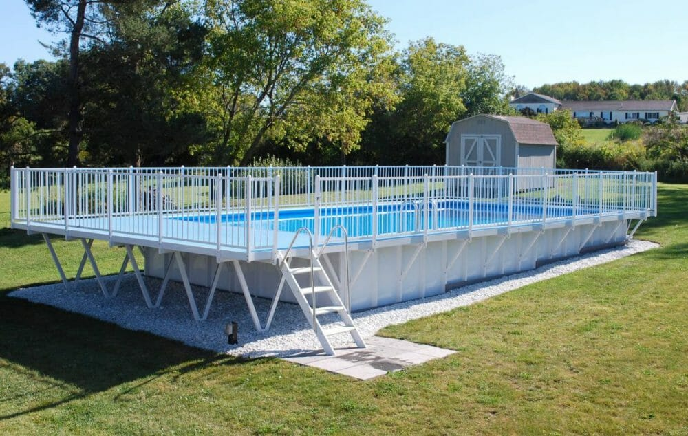 All-White Above-Ground Pool Fence and Deck
