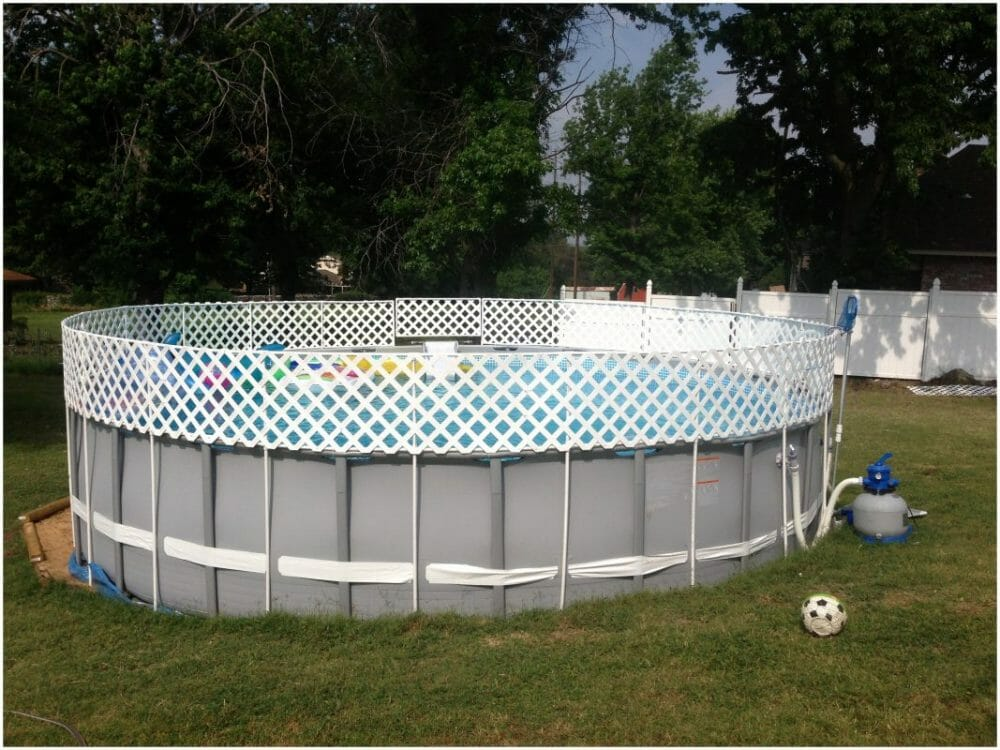 PVC Pipe and Lattice Above-Ground Pool Fence Ideas