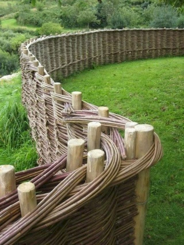 woven wooden horse fence